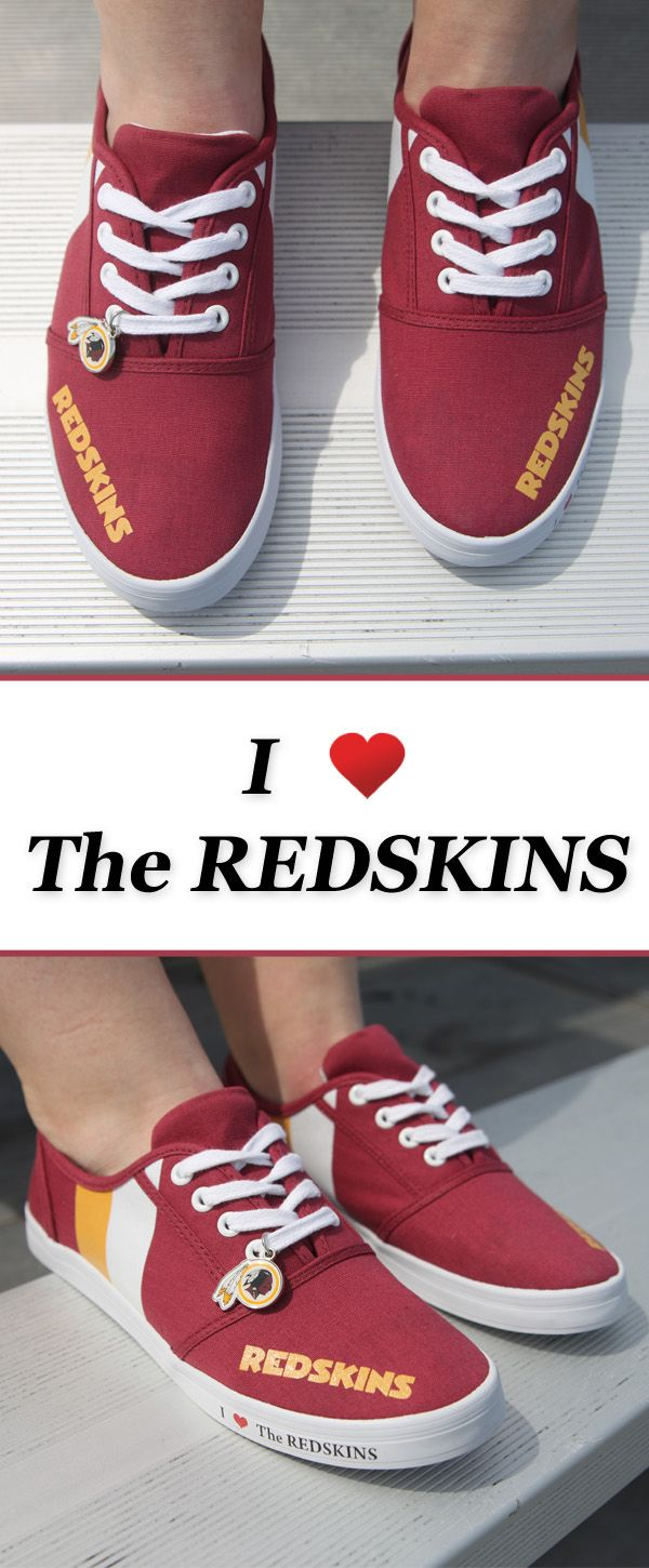 Take your team pride with you wherever you go in our I Love the Redskins women's shoes - officially licensed by the NFL.