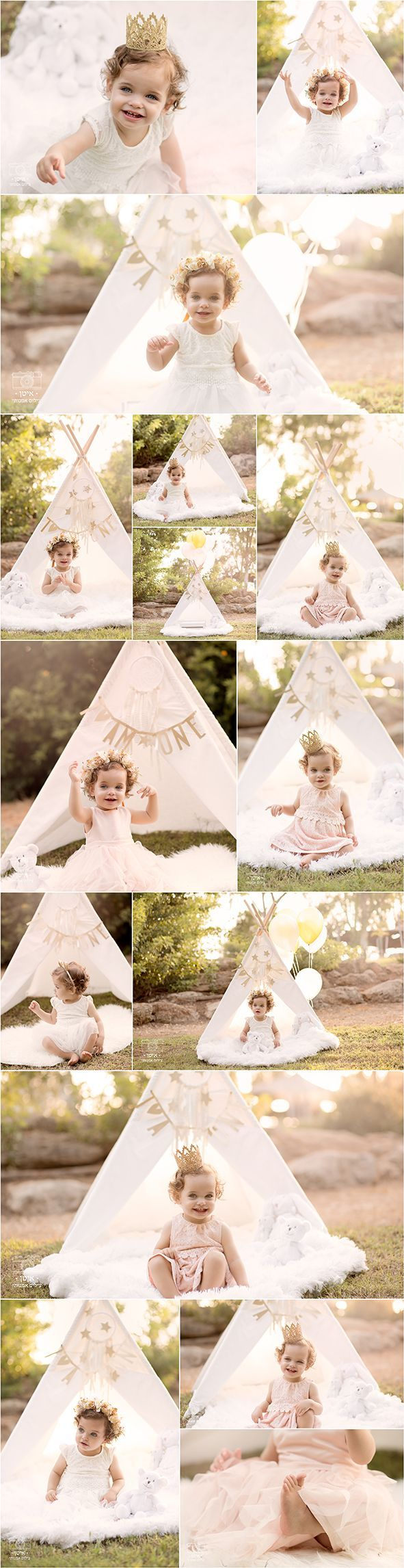 outdoor kids session, first birthday session, teepee tent, flower crown, itan fine art photography