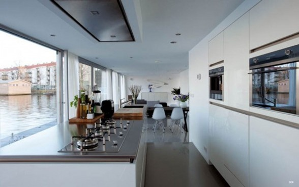 Kitchen of the houseboat on Amstel river in Amsterdam.
