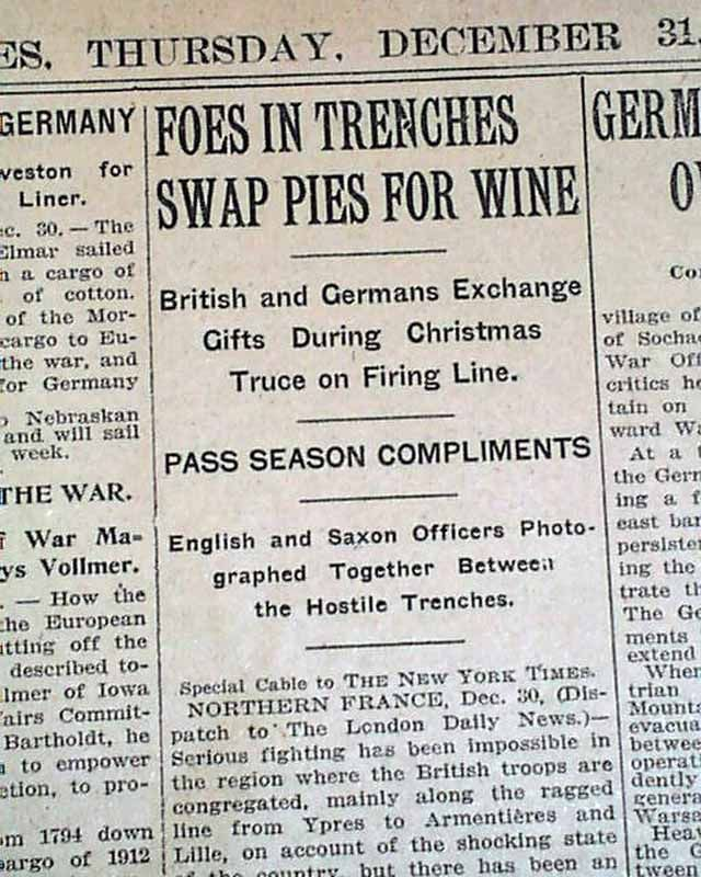 """The """"Christmas Truce"""" during World War I... THE NEW YORK TIMES, December 31, 1914 newspaper..."""
