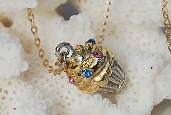 A cupcake that always looks perfect...  Gold Cupcake Necklace 14k Gold Filled Swarovski by ornatetreasures, $38.00