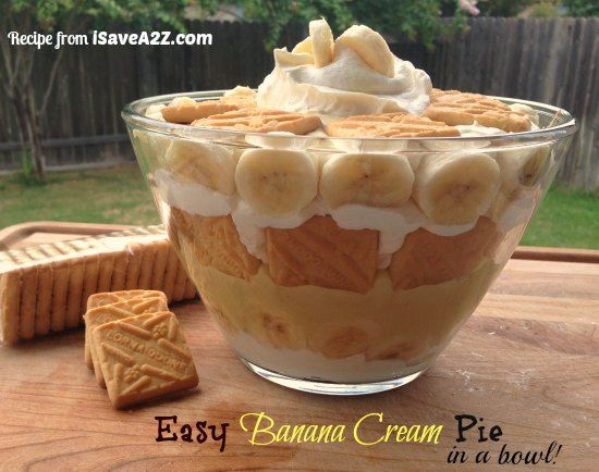 Easy Banana Cream Pie Recipe made with Instant Pudding