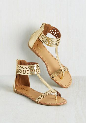 Notoriously Noticeable Sandal - Gold, Solid, Cutout, Party, Beach/Resort, Boho, Good, Gold, Metallic, Flat, Faux Leather