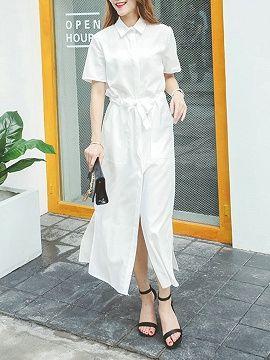 Shop White Tie Waist Short Sleeve Maxi Shirt Dress from choies.com .Free shipping Worldwide.$23.39