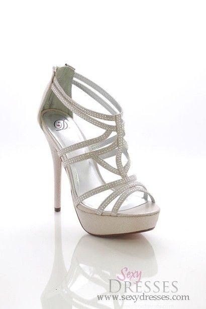 Silver Shimmer 'Poly' Rhinestone Embellished Strappy High Heel Sandals