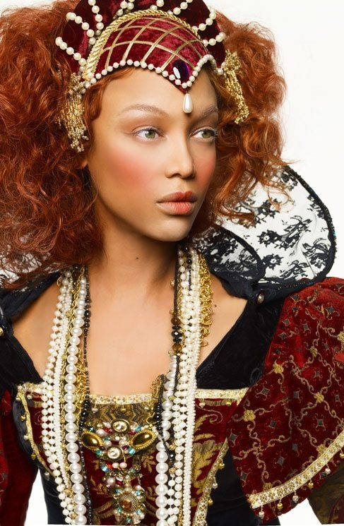 Tyra banks in Medieval costume.