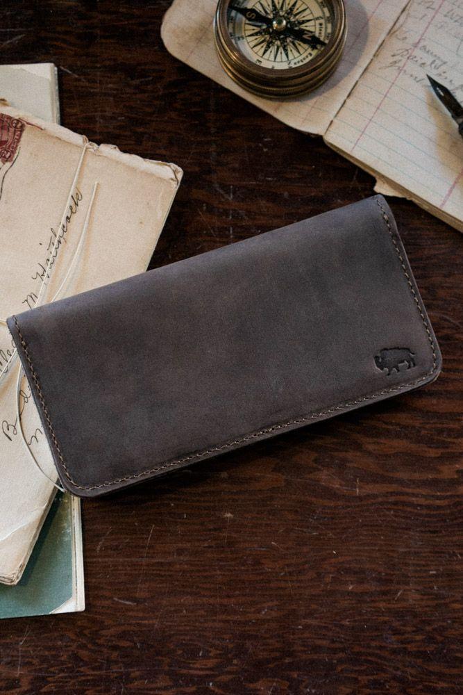 Denver Leather Checkbook Wallet - Walnut