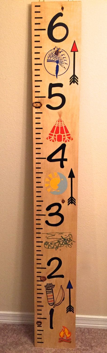 Native American Indian Tribe Growth Chart Ruler, Measuring Board, Solid Wood Growth Chart. Tribal - pinned by pin4etsy.com