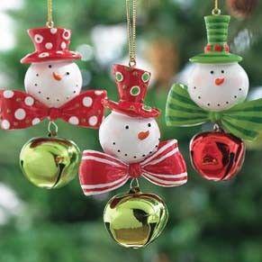 snowmen, ornaments, bells.