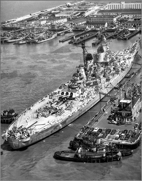16 in Iowa class battleship USS Missouri in 1951 - the most famous of the four sisters (all of which survive) because the Japanese surrender was signed aboard her on 2 September 1945. They were probably the best battleships ever built.