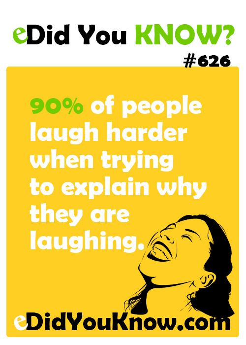 90% of people laugh harder when trying to explain why they are laughing. ▻. Did You ...