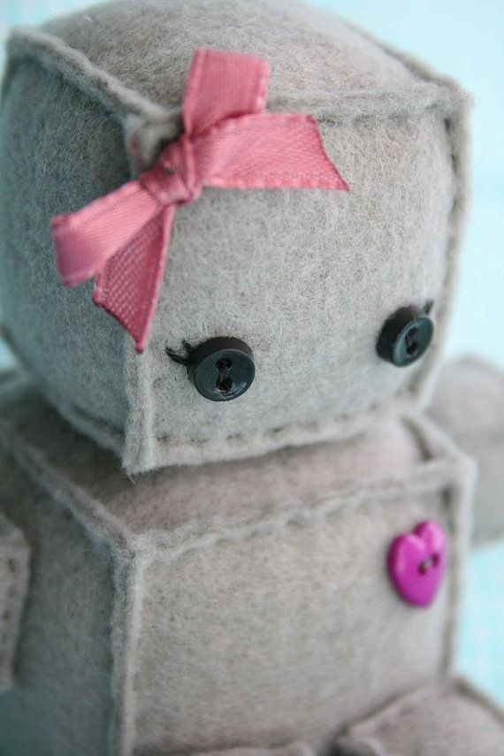 Felt Robot Plush with Purple Heart and Bow