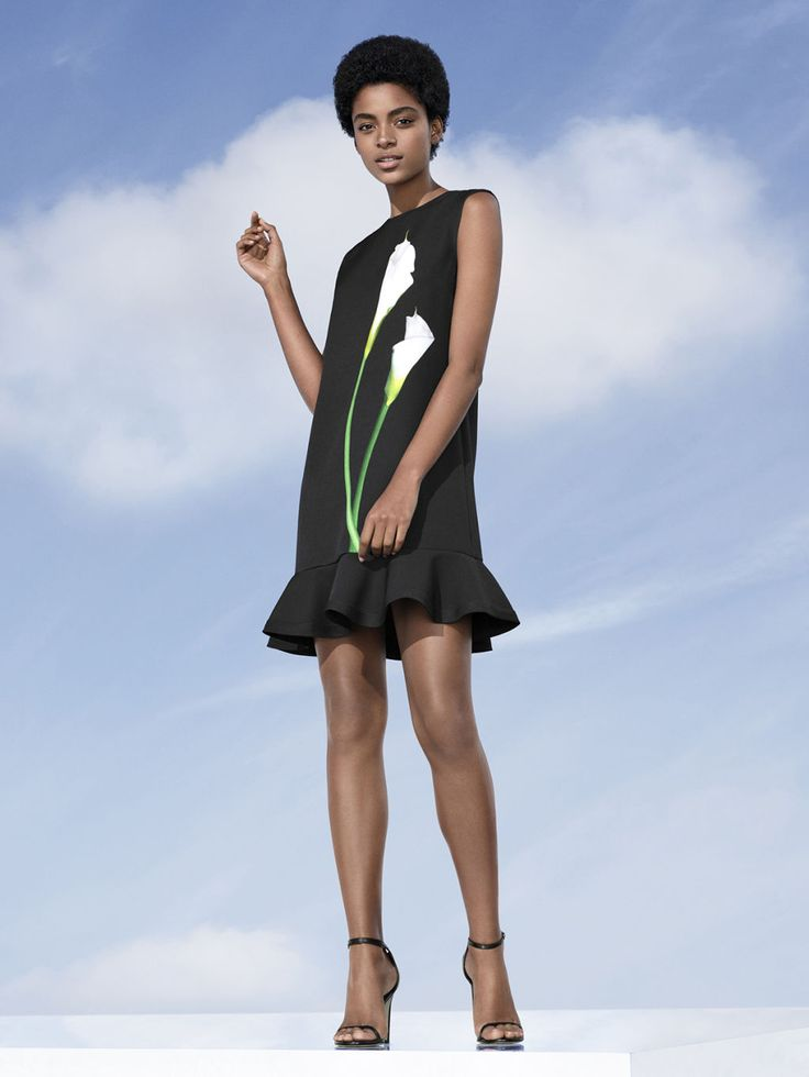 This black ruffle hem dress from the  Victoria Beckham for Target Collection features a graphic calla lily.