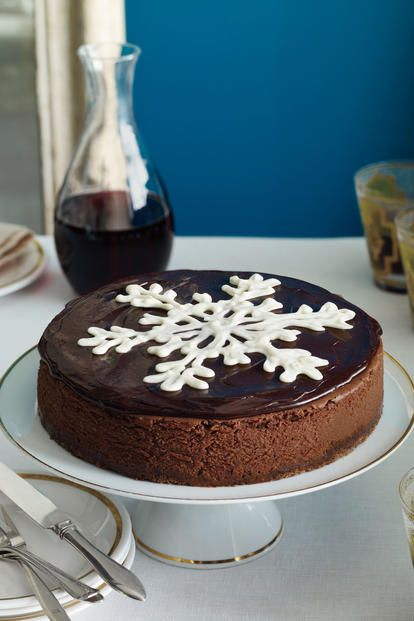 Recipe: Chocolate Truffle Cheesecake  Don't let the snowflake—piped in white chocolate ganache on the center of the cake—fool you. This truffle cheesecake is l