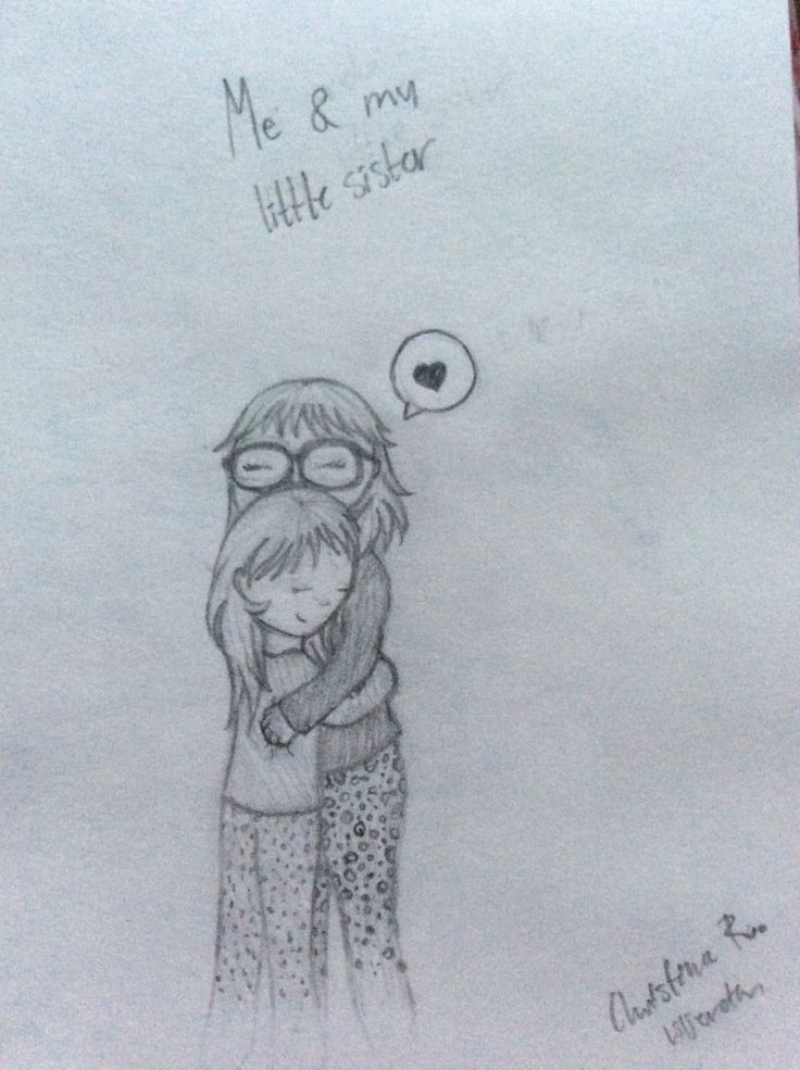 'Me and my little sister' she like to huge me. I love you little sis; drawing by ArtWolf