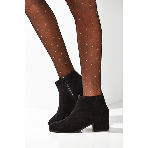Vagabond Daisy Suede Boot -  Black US 8/EU 38 at Urban Outfitters ($140) ❤ liked on Polyvore featuring shoes, boots, ankle booties, rubber sole boots, black block heel boots, black mid heel boots, suede boots and mid heel booties