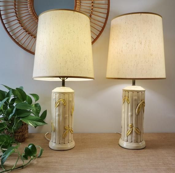Vintage Lamps Tall Bamboo Ceramic Lamps With Shades Bamboo Etsy Lamp Vintage Lamps Ceramic Lamp