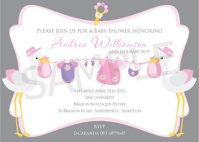 Stork Baby Shower Customised Party Thank You By Blackleafdesign, $10.00