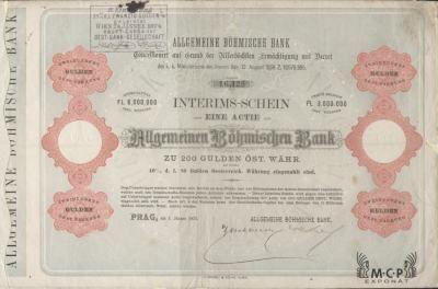 Muzeum cennych papiru A1692 Allgemeine Böhmische Bank 1872