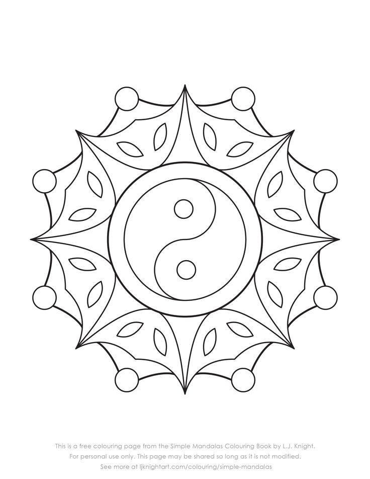 Free yin yang mandala colouring page from the Simple