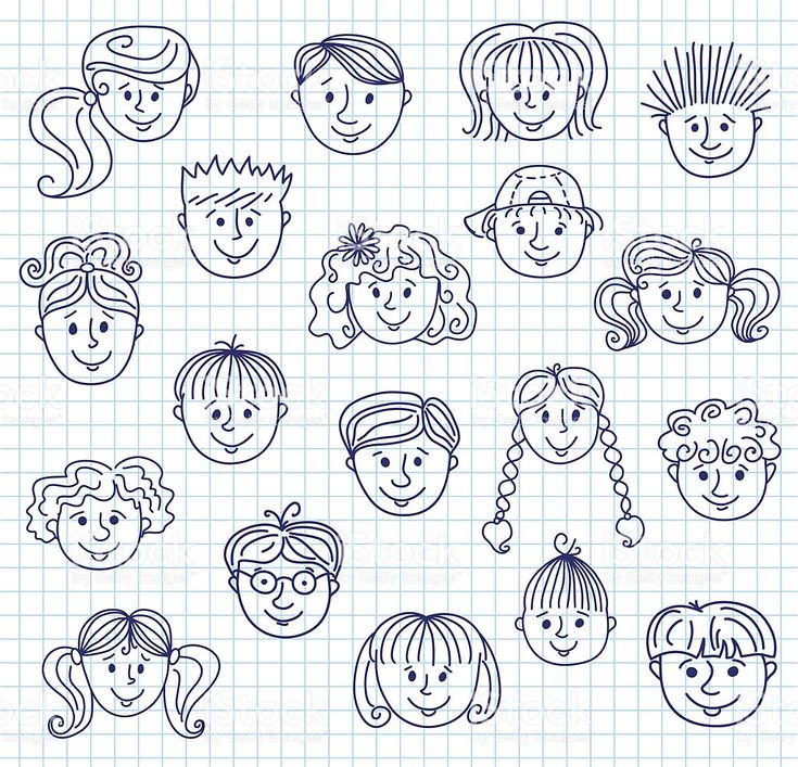 Set of smiley children faces. Doodle style illustration on a squared…