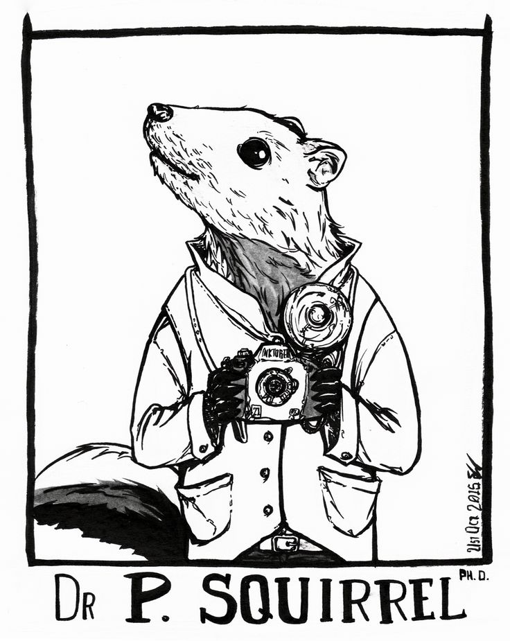 #inktober2015 -21- In addition to his wealth of knowledge in natural science, Dr P. Squirrel is a passionate amateur photographer of anything that flies.