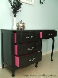 Wow! This girl is amazing! Check out her site for more cool makeovers. Transforming Old Furniture with Paint Chests and Consoles If you have a piece of old furniture that could use a re-do then this post is for you! Thanks to a can of paint this desk has gone from drab to fab. The best part of this re-do is how she painted the drawers pink for an added detail that really makes the desk pop!