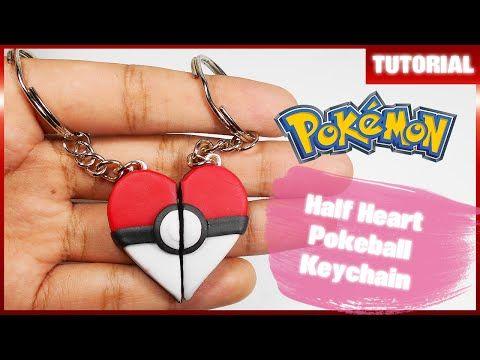 Half Heart Pokeball Keychain polymer clay tutorial