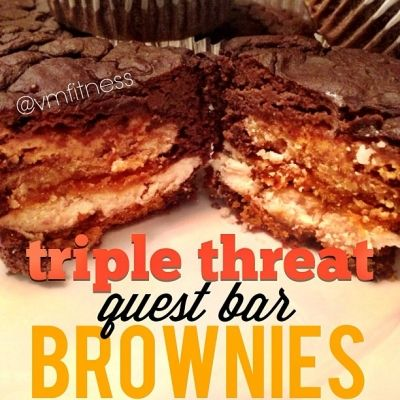 Ripped Recipes - Triple Threat Questbar Brownies - Just like those crazy Pinterest Desserts... but healthified :]