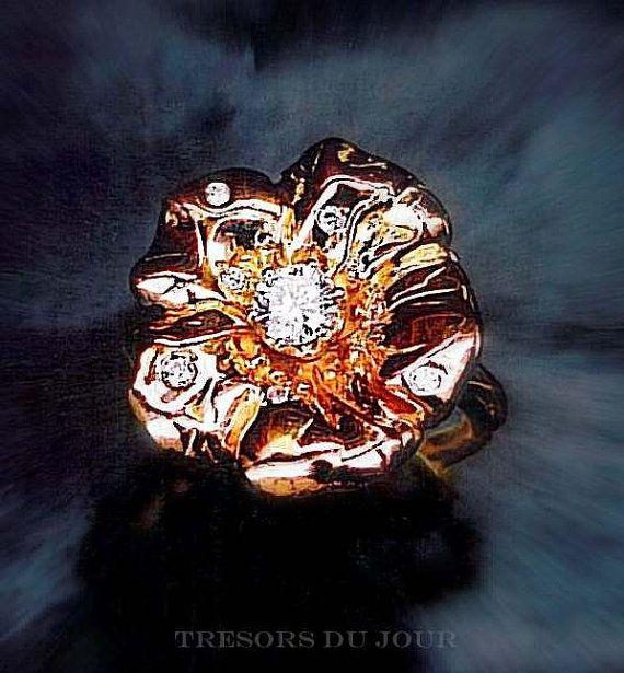 unique engagement ring camellia flower ring conflict free