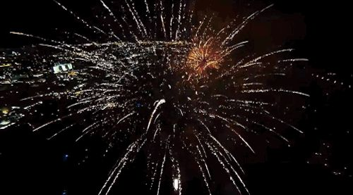 The popular online video shows a DJI Phantom 2 drone flying through explosions during a fireworks show in West Palm Beach, Florida. | This Incredible Drone Video Shows Fireworks From Inside Their Explosions