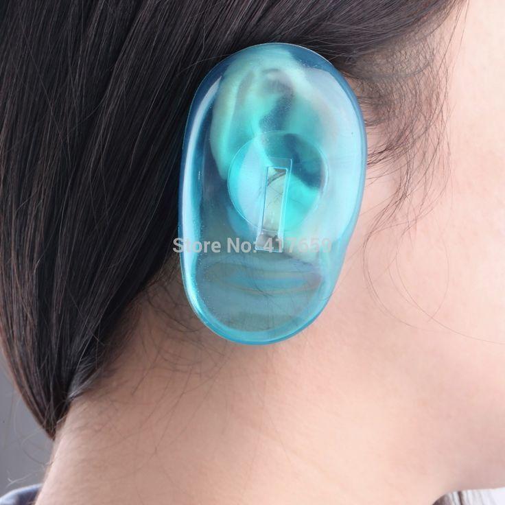 1 Paia Trasparente Copertura Dell'orecchio Del Silicone Tinture Per Capelli Shield Protect Salon Colore Blu Nuovo Designa Gli Accessori Trasporto Libero
