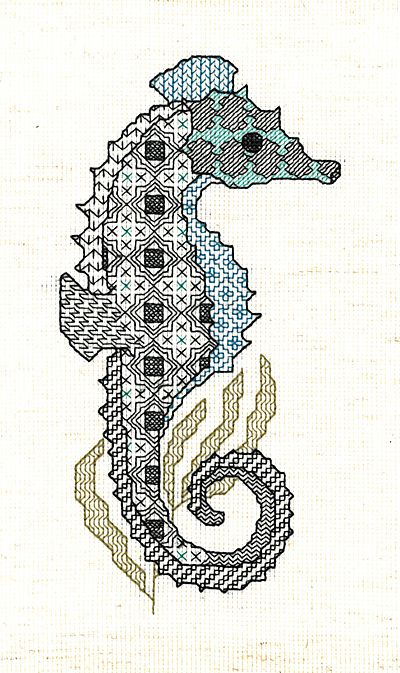 Seahorse Blackwork Kit by Sarah May Designs for Classic Embroidery