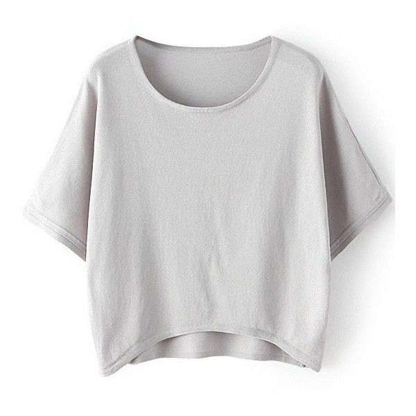 LUCLUC High Low Gray Batwing Sleeve Knit T-shirt ($19) ❤ liked on Polyvore featuring tops, t-shirts, shirts, knit shirt, batwing sleeve tops, grey knit top, grey top and gray top