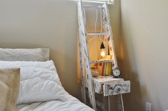 Distressed White Ladder Nightstand with Drawer
