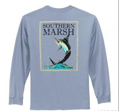 Southern Marsh Blue Marlin Fishing Tee- Light Blue