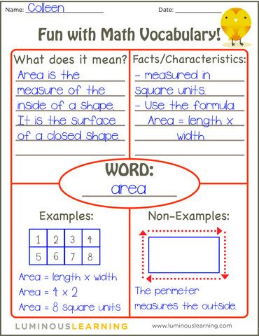 Math Vocab sheet - Frayer Model example