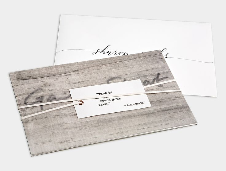 Neutral Wedding Invitation / Black Letterpress / Wood Grain Prints / Leather Lacing / Groom's Handwriting / Anne Robin Calligraphy / Bliss & Bone