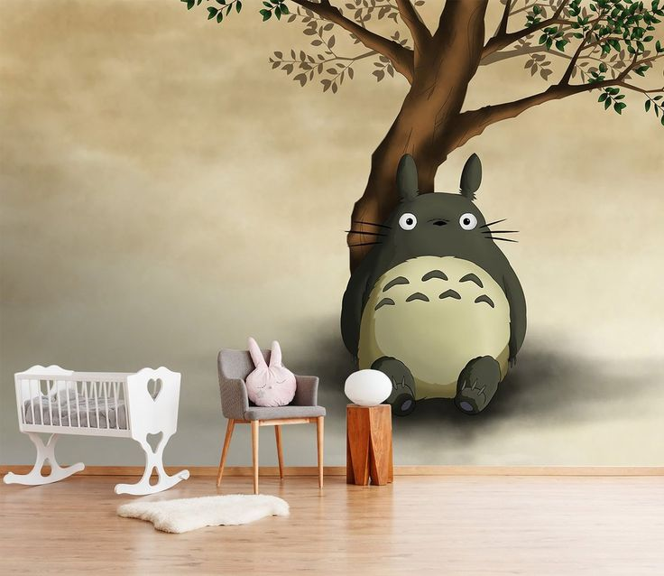 3d totoro leaning against tree 54 anime wall murals with