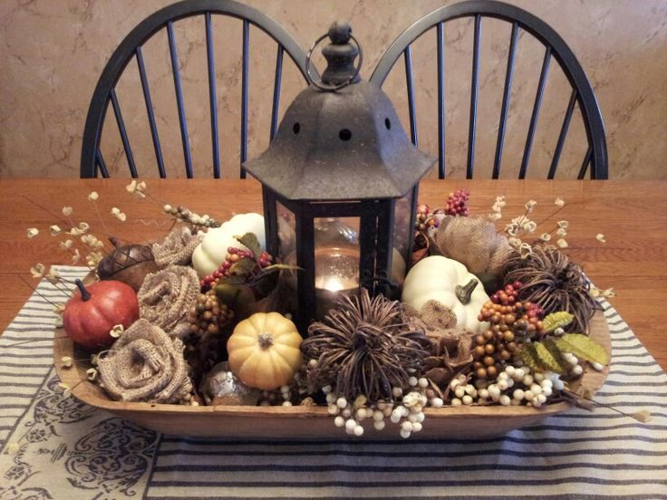 Fall Centerpiece With Pumpkins Burlap Flowers And Berries In A Vintage Dough Bowl