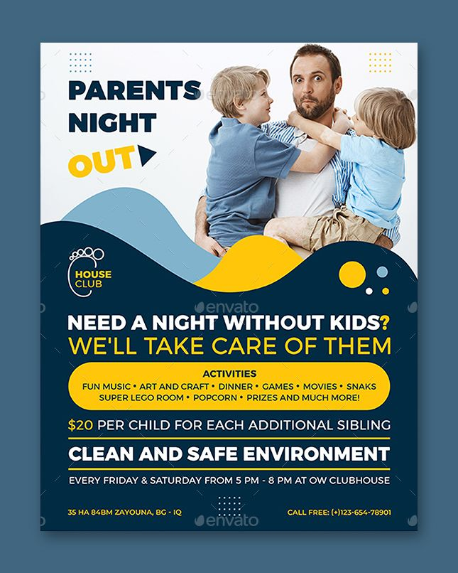 Parents Night Out Flyer Template In 2021 Parent Night Flyer Template Night Out