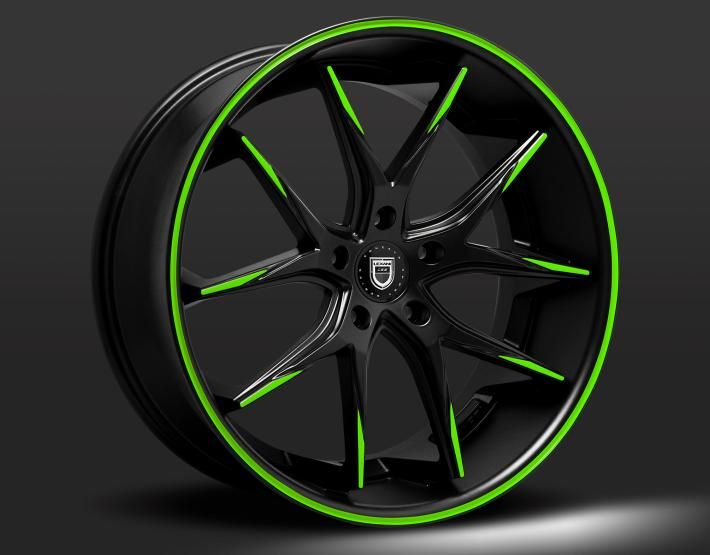 ------- Lexani Concave Series ------- LEXANI R-TWELVE custom - black and green finish YAZZZZZZZ