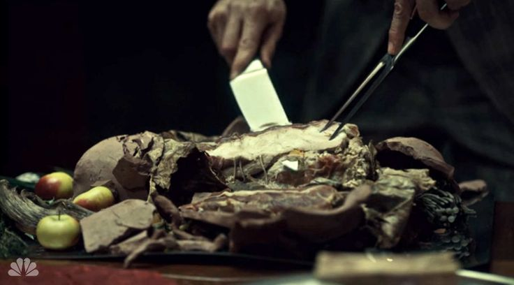 """In the most macabre dining scene yet, Hannibal serves Dr. Abel Gideon HIS OWN LEG. """"You intend me to be my own last supper,"""" asks Dr. Gideon. """"Yes."""""""
