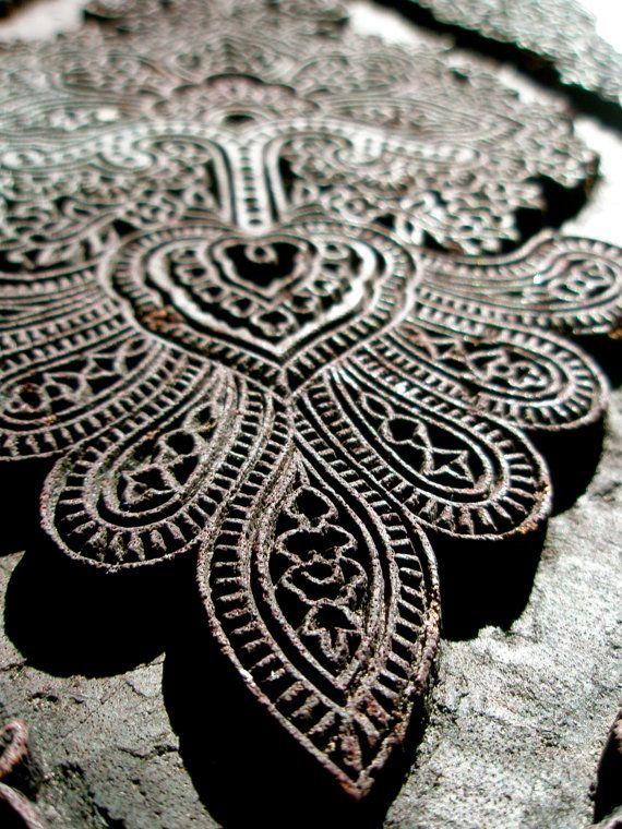 extra large vintage indian textile stamp floral possibly antique hand carved beautiful design
