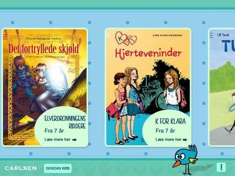 Frilæsning er gratis, men med in app køb. Det er kun bogen K for Klara, der er gratis. Det er den første bog i en serie om Klara, der går i 3. klasse.