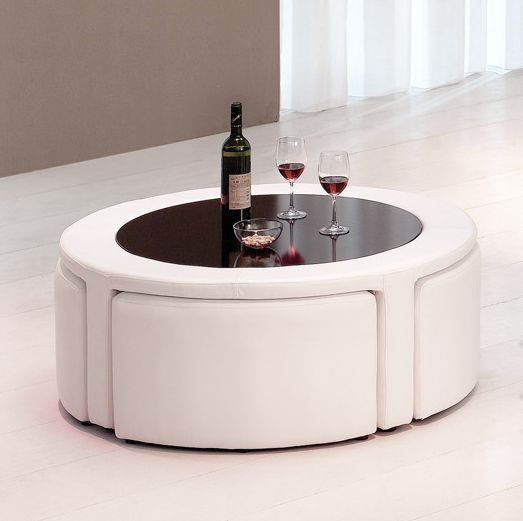 Coffee table with mini stools 459 ottomans pinterest for Round cocktail table with stools