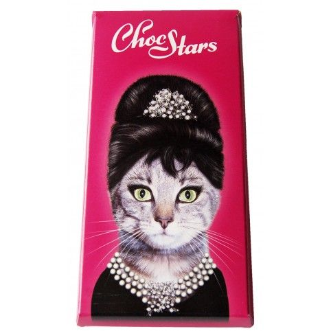 "Información: Divertida tableta de Chocolate ""ChocStars"" imagen de Audrey Hepburn#ChocStars #chocolate"