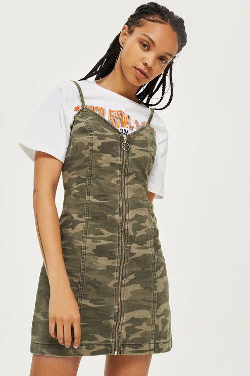 38a64902e0ad2 Camo Zip Up Denim Dress | YCYCYC en 2019 | Camo dress, Denim y Denim ...