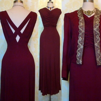 Vintage 30s Metallic Gold Lace Merlot Crepe Deco Wedding Dress Jacket Foga Set L | eBay