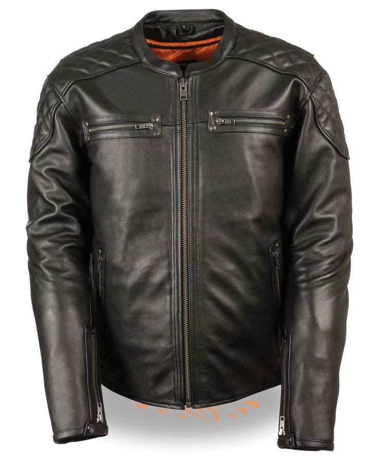 MEN'S MOTORCYCLE FULL SIDE LACE LEATHER POLICE JACKET